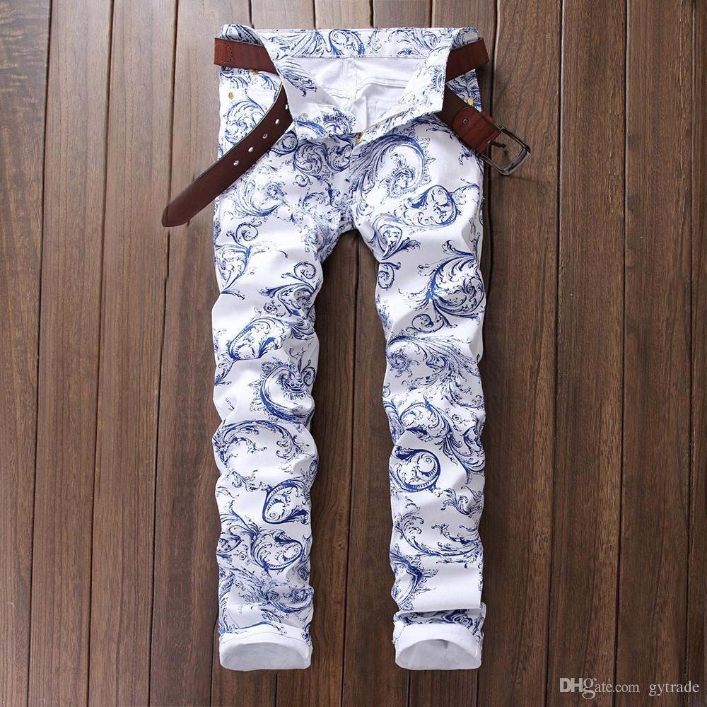 Men's fashion blue and white porcelain pattern print jeans Slim stretch denim pencil pants Long trousers #345633