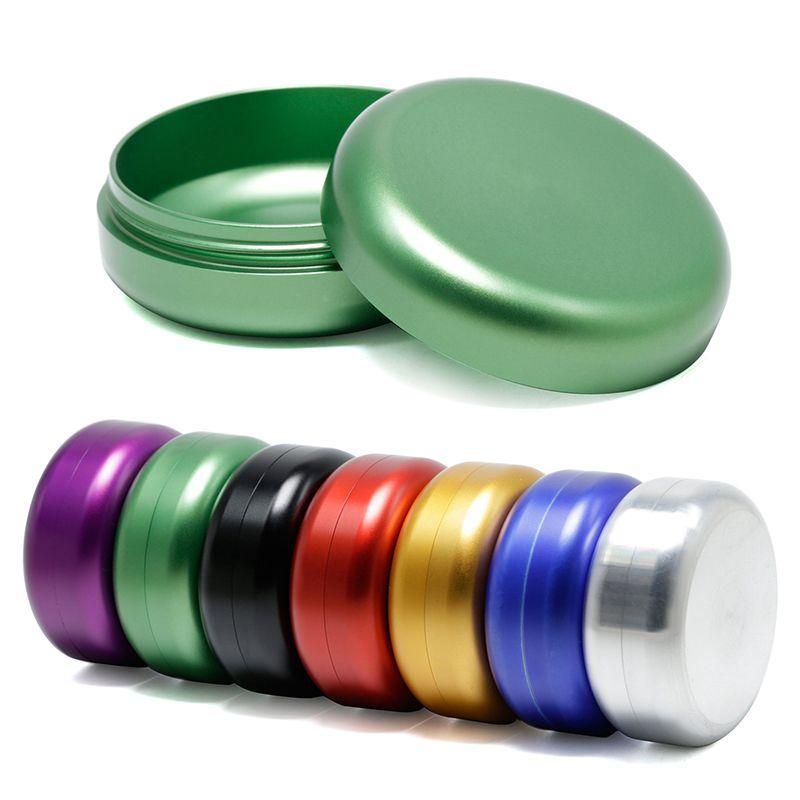 Печать Стаканчики Металл Herbal Пот Воск Контейнеры баночки Herb Storage Box Алюминиевый сплав Материал 55MM (D) * 23MM (H) 7 цветов