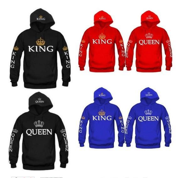 Bkld 2017 Herbst 3 farben König Königin Gedruckt Hoodies Frauen Männer Sweatshirt Liebhaber Paare Hoodie Mit Kapuze Sweatshirt Casual Pullover