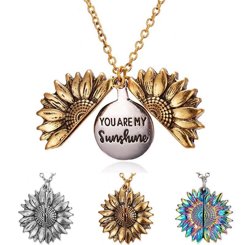 Frauen öffnen Locket Du bist mein Sonnenschein Gravierte Halsketten-Anhänger Einzigartige Sonnenblume Halsketten-Partei-Schmuck Geschenk Valentinstag Anhänger Geschenk