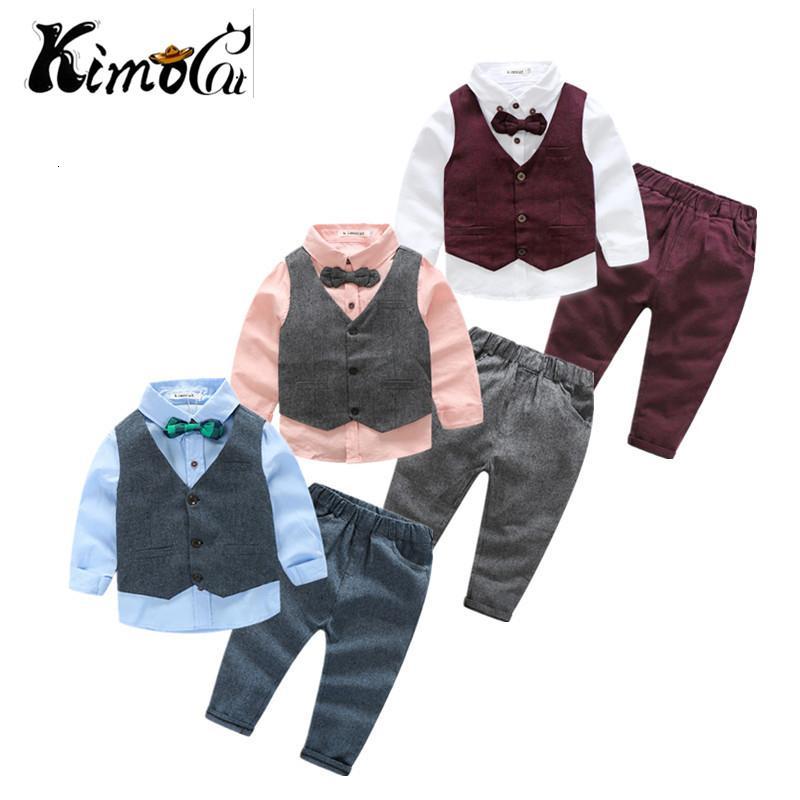 Kimocat neue Kinderkleidung Frühling und Herbst Junge Langhülse Baumwolle Weste in der Klage 3pcs des Herren (Vest + Shirt + Hosen) V191112