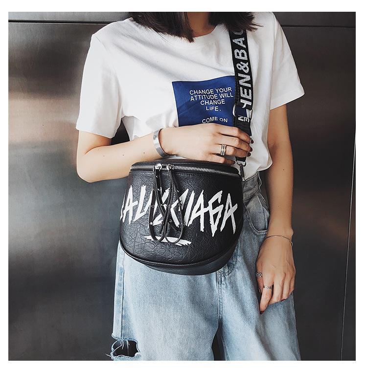 manera de las mujeres de la PU de cuero bolso de banda ancha Crossbody del bolso de hombro del cubo pintada impresión linda bolsa Ocio Bolsas T200116