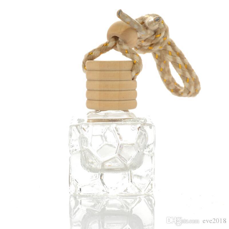 7 ml do cair do carro de vidro Perfume garrafa reutilizável vazio Volatilization automático de suspensão Garrafa Acessórios Madeira Cap Reutilização LX8146