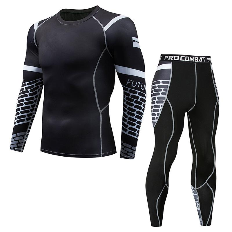 2019 Men's Compression Run jogging Suits Clothes Sports Set Long t shirt And Pants Gym Fitness workout Tights clothing 2pcs/Sets