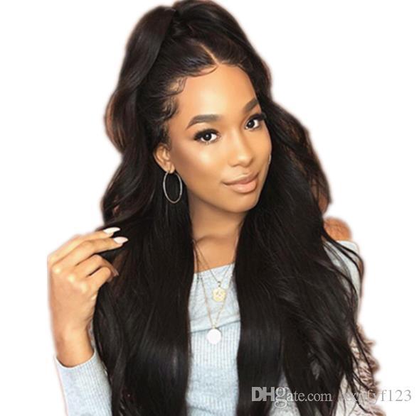 Perucas sintéticas onda corporal calor resistente ao calor cabelo longo peruca parte média glúel para mulheres negras fzp137