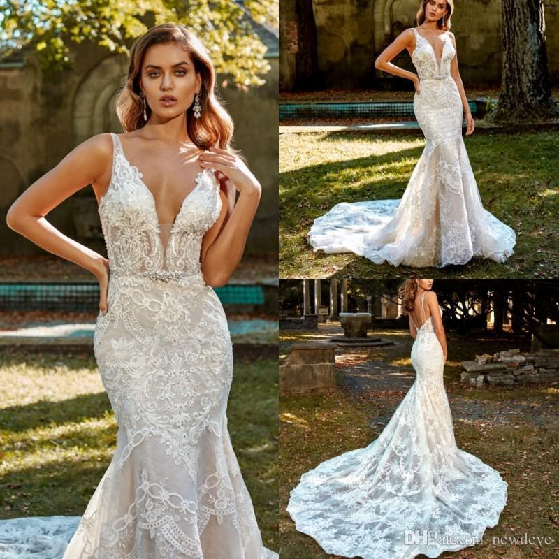 Eve Of Milady 2020 Wedding Dresses Spaghetti Straps Backless Mermaid Wedding Dress Lace Appliqued Beaded Bridal Gowns