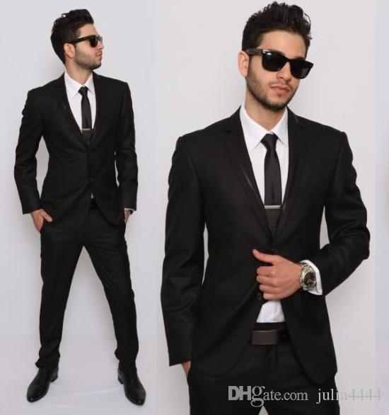 Klas Siyah Düğün Smokin Slim Fit Erkek Business Suit Damat (Ceket + Pantolon + Kravat) erkek Takım Elbise Bahar 2019 Sıcak Satmak Damat Ebelz Suits