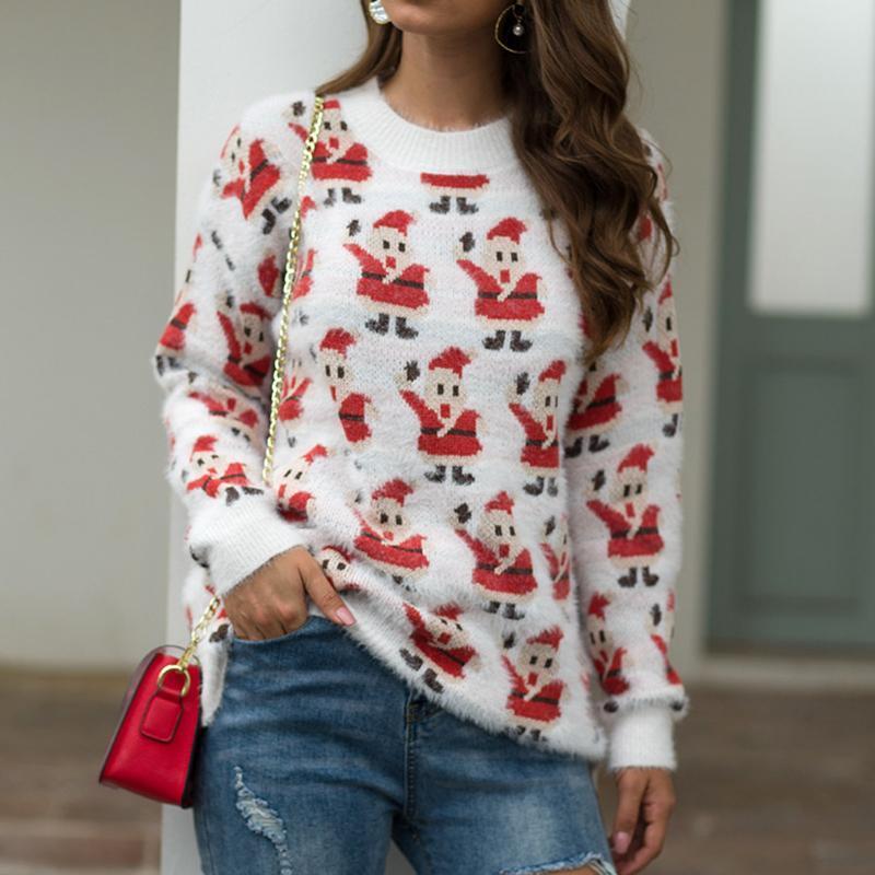 Frauen Weihnachten Pullover Langarm-O-Ansatz Weihnachtsbaum Stricken Pullover Tops Damen Frühling Kleidung der Frau