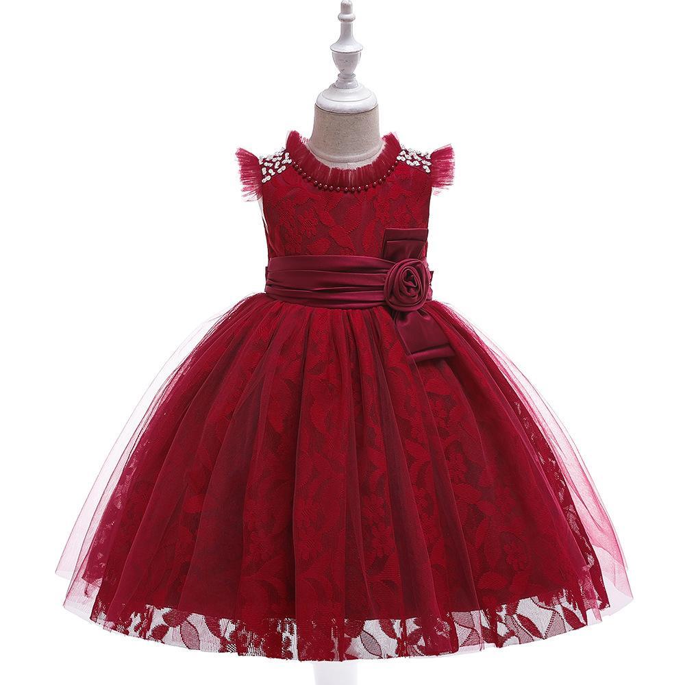 Moda Ruffled O Pescoço Rendas do Miúdo Vestido Formal Primeira Comunhão Vestido Para O Casamento de Pérolas Meninas Pageant Vestidos