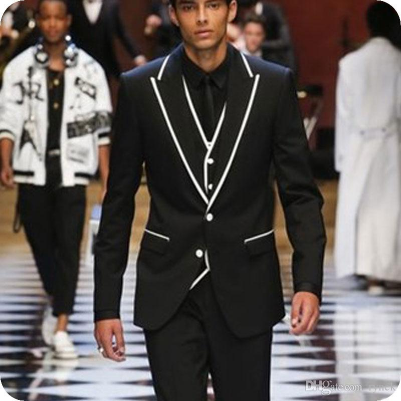New Fashion Black Men Suits Wedding Groom Tuxedo White Side Man Blazer Jacket 3Piece Latest Coat Pant Designs Terno Masculino Costume Homme