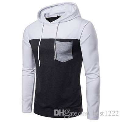 Nouveau Casual nouveaux pulls à capuche de la mode masculine Pullover patchwork à capuche manteau veste automne capuche grande taille