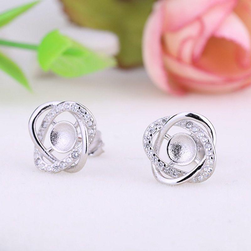 925 Sterling Silver Women Stud Earrings Crystal 6mm 7mm Round Bead or Pearl Semi Mount Earrings Fine Jewelry Setting fit amber agate