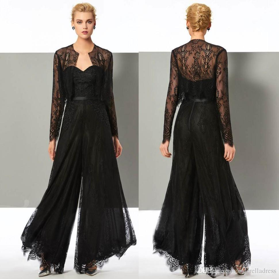 Elegant Black Lace Jumpsuit Mother Of The Bride Pant Suits Sweetheart Neck Wedding Guest Dress With Jackets Plus Size Mothers Groom Dresses