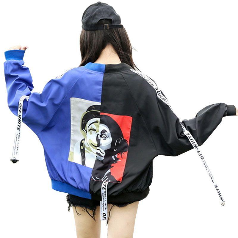 2018 Bombardero de otoño del resorte de la chaqueta Hombres Mujeres Tops par de manga larga capa delgada ocasional de vestir exteriores Hip hop coreano chaqueta de bombardero