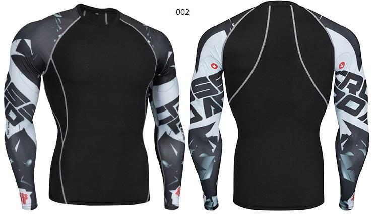 Nouvelle Vente Chaude De Sport fitness T-shirt Hommes À Manches longues impression de course Formation fitness Sport Casual stretch respirant la sueur serré costume