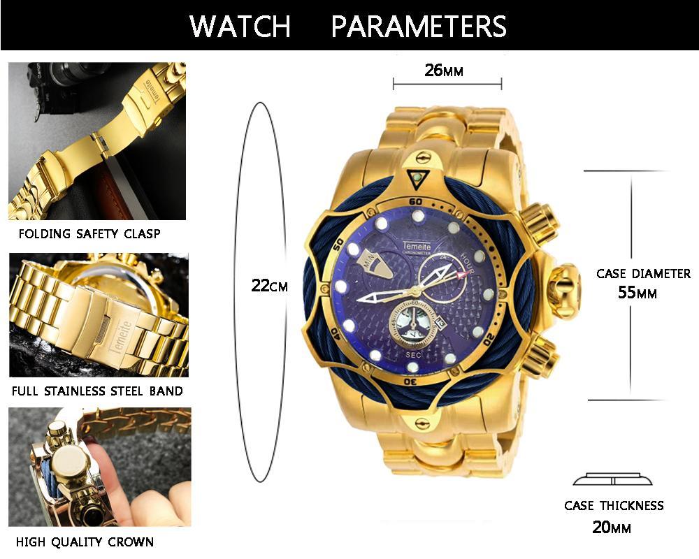 Temeite Mens relógio Top Marca de luxo de Ouro Assista homens de aço quartzo relógio masculino à prova d'água pulso Relogio Dourado Masculino