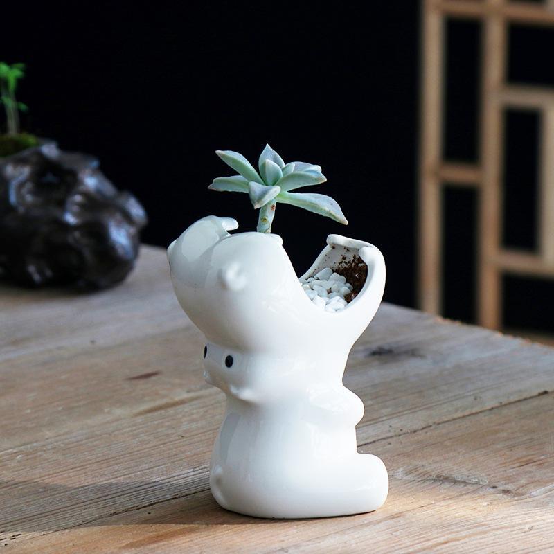 Succulent flower pot ceramic hippo cute white european gardening creative planter balcony desktop potted animal desk decoration