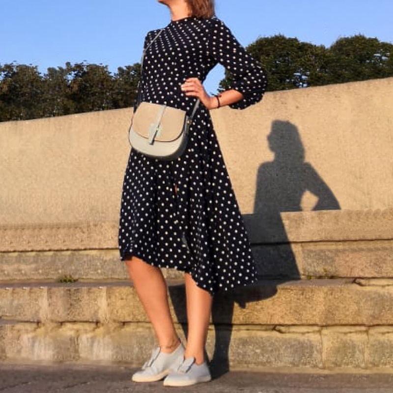 Mujeres se visten de otoño punto impreso El traje de la vendimia del vestido del verano de la playa Vestidos de noche del partido de las mujeres del traje atractivo de Femme Plus tamaño S a 5XL