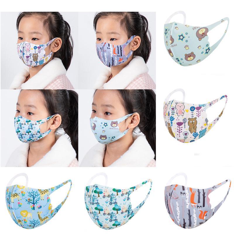 Çocuklar Yüz Karikatür Hayvan Toz Yıkanabilir Ağız Maskesi Yeniden kullanılabilir Maske Koruyucu Çocuk Moda Shield Toptan Maske baskılı Maske