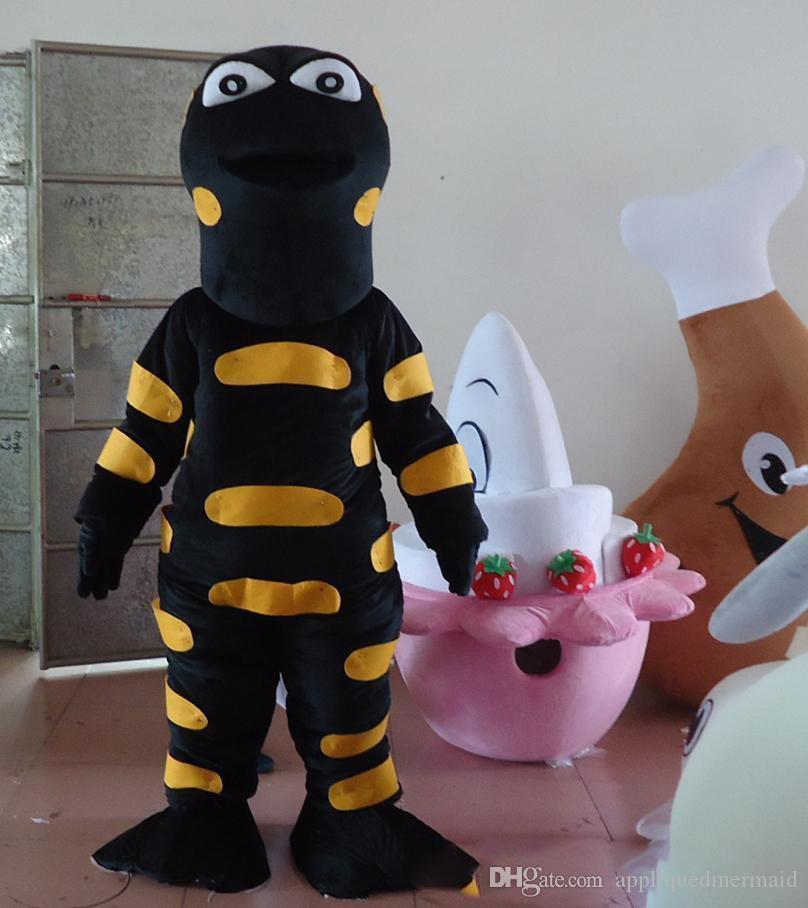 2018 Remise usine vente Adulte Noir Lézard Mascot Costume Animal Lézard Costume Noël Fête D'anniversaire Fancy Dress