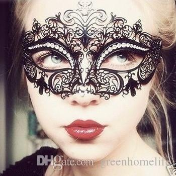 Festive & Party Masks Halloween Mask Cosplay Half Face High Quality Metal Diamond-encrusted Iron Mask Party Halloween Party Masks