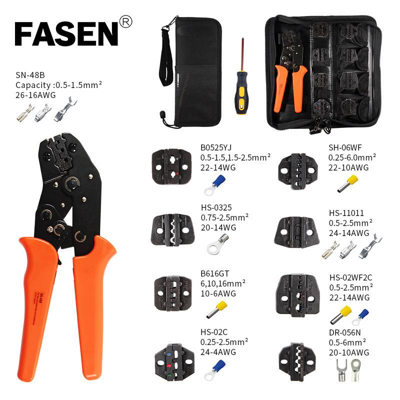 Crimping tools pliers set for XH2.54 pulg/tubular/tube/insulated terminals SN-48 ratchet Crmping plier 8 jaw kit pressing pliers Y200321