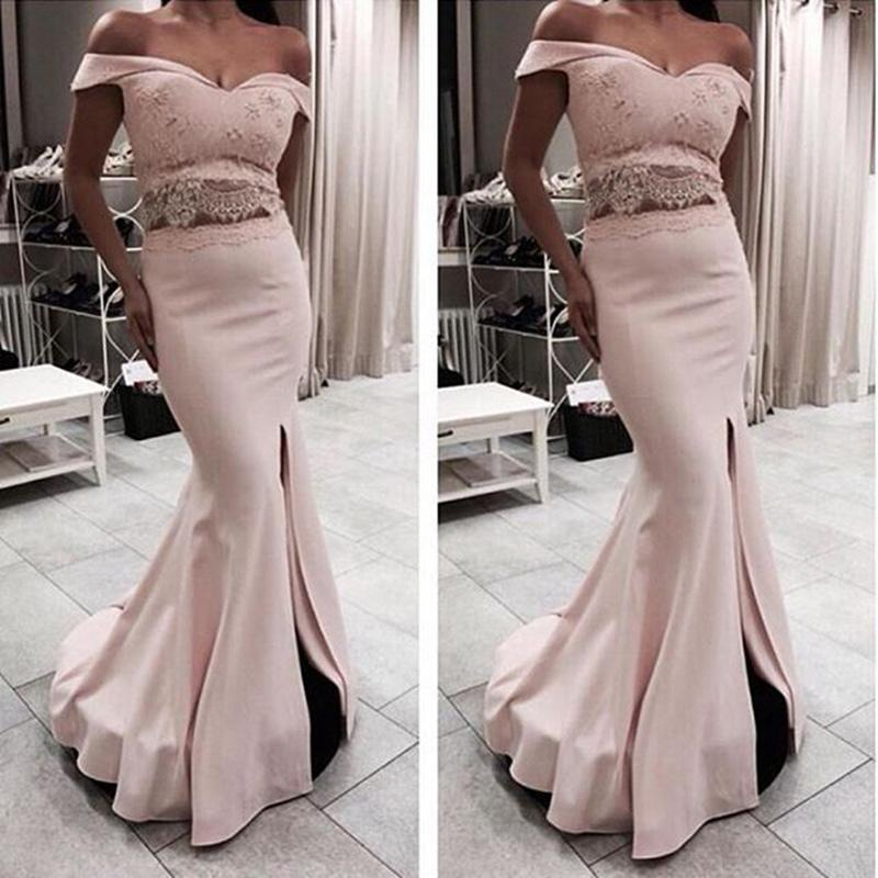 Robe De Soiree Long pink Mermaid prom Dresses 2020 V-neck off the shoulder Lace Front Slit Two Piece Women Formal Evening Gowns