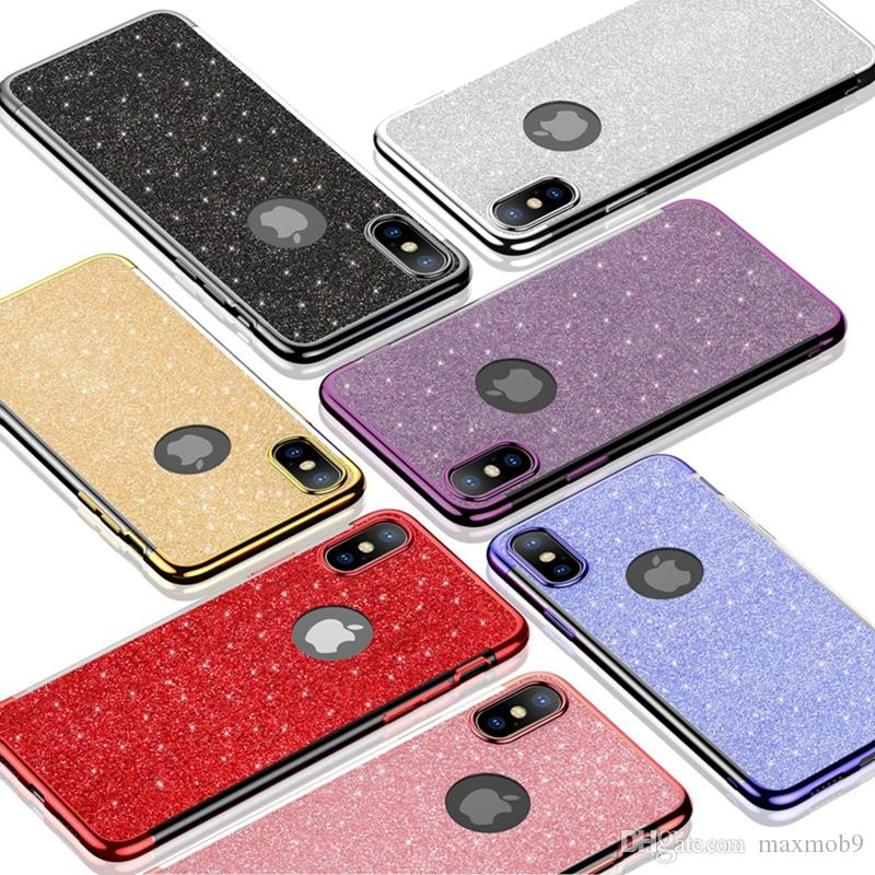 Glitter powder TPU cell phone case cover for iphone 11 pro xs max xr x 6s 7 8 plus bling bling shiny for Samsung S8 S9 S10 PLUS NOTE 8 9