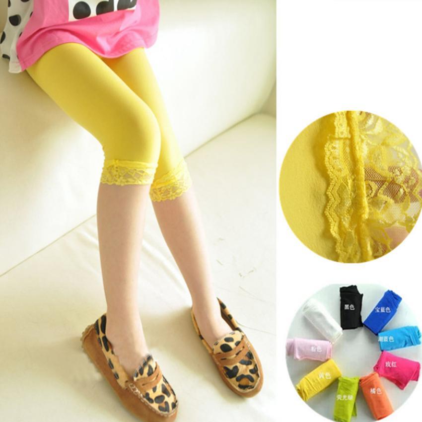 14 Colors Kids Baby Girls Velvet Candy Color Leggings Summer Girls Lace Leggings Children Cropped Pants ZZA1893 500pcs