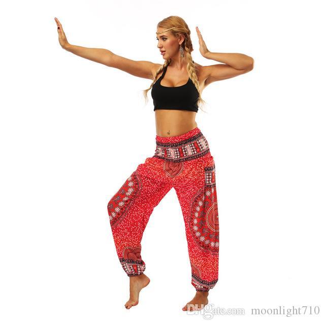Red mandala circle galaxy floral Printed stretchy High rise Straight Loose leggings lounge Bloomers pocket yoga pants