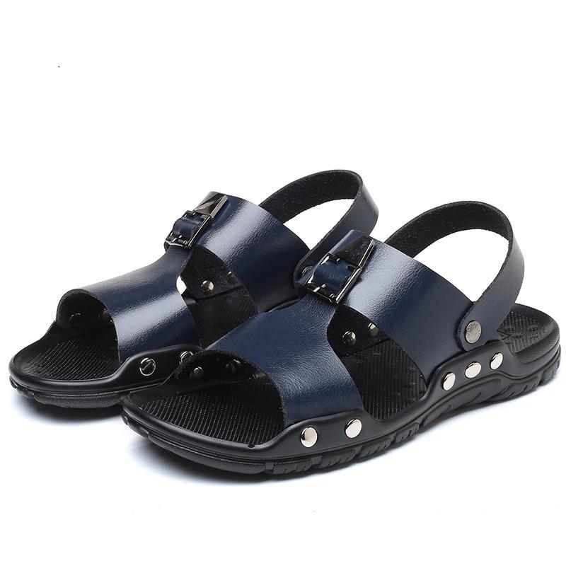 Grandi appartamenti scarpe da spiaggia uomo pantofole massaggio Mens 2019 moda britannico sandali taglia casual estate vera pelle grande antiscivolo