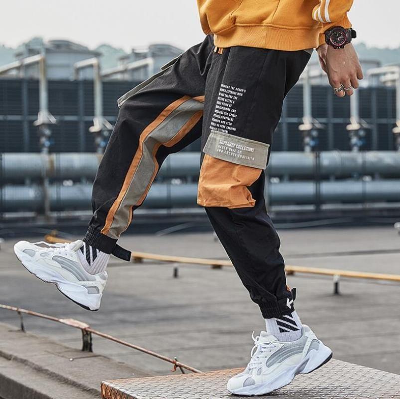 Мужчины Hip Hip Pants цвет блока Лоскутная Multi-карман Грузовой шаровары Street Harajuku Jogger Sweatpant Man Брюки 2020 w288