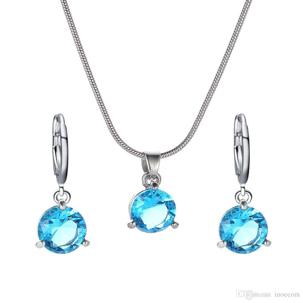 Simple Style Two-piece Round Crystal Zircon Pendant Necklace Jewelry Set Women Girls Mother's Day Gift Set Blue Pink Color