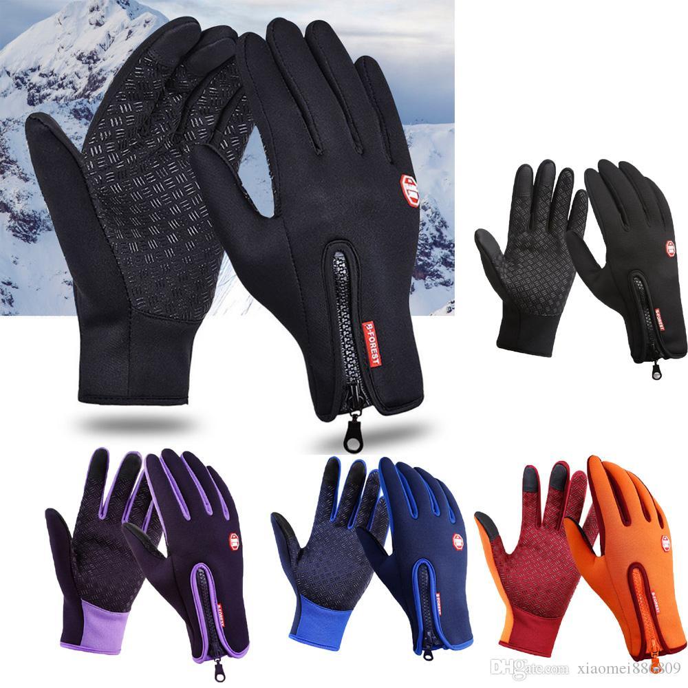 S-XL Esportes Ao Ar Livre Caminhadas de Inverno Bicicleta Bicicleta Ciclismo Luvas para Homens Mulheres Windstopper Simulado Couro Luvas Moras