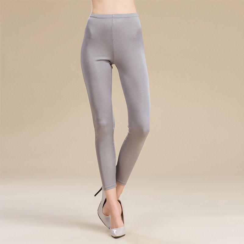 100 mulheres% seda longo Leggings sólidos leggings magro Comprimento do tamanho Plus completa Anti esvaziado assentamento calças
