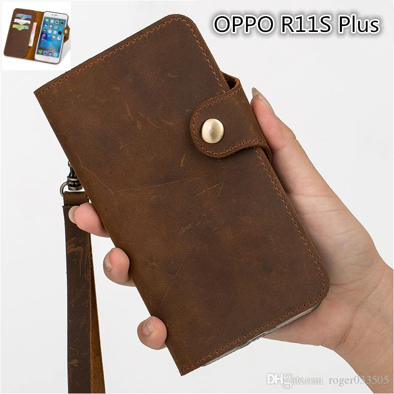 QX11 Gneuine Leather Wallet Flip Case With Card Holders For OPPO R11S Plus Wallet Case Fundas With Lanyard Phone Pouch