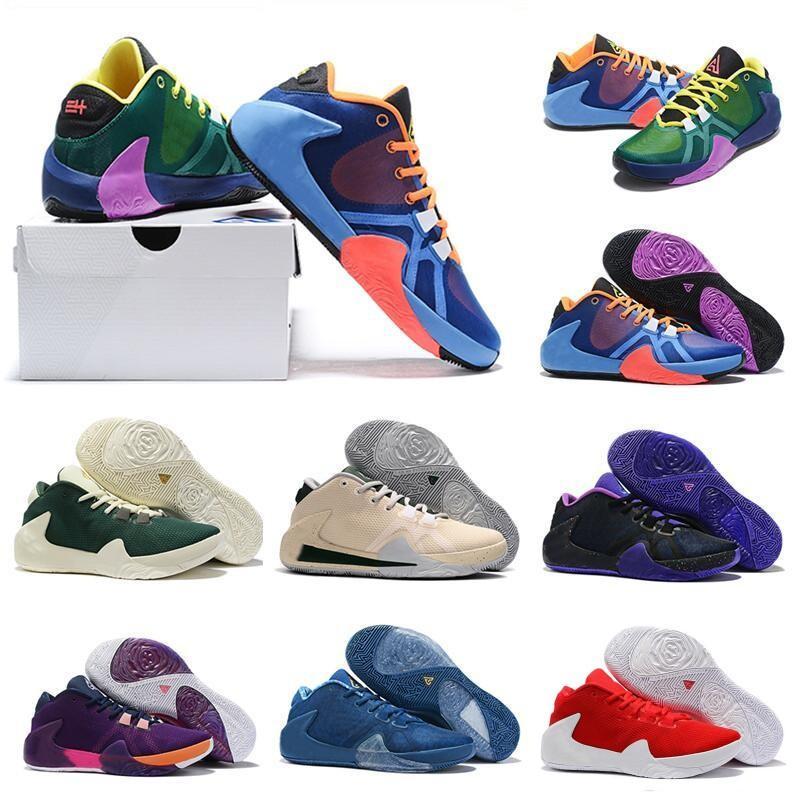 What the Greek Freak 1 Signature Basketball Shoes for MVP Giannis Antetokounmpo Bucks Green Purple Grape Women Mens Sports Sneakers Size7-12
