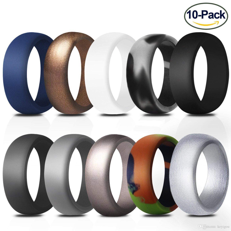 10pcs de silicone Anéis 8,7 milímetros Hipoalergênico flexível Sports antibacterianos anéis de dedo de borracha anel de casamento para os homens