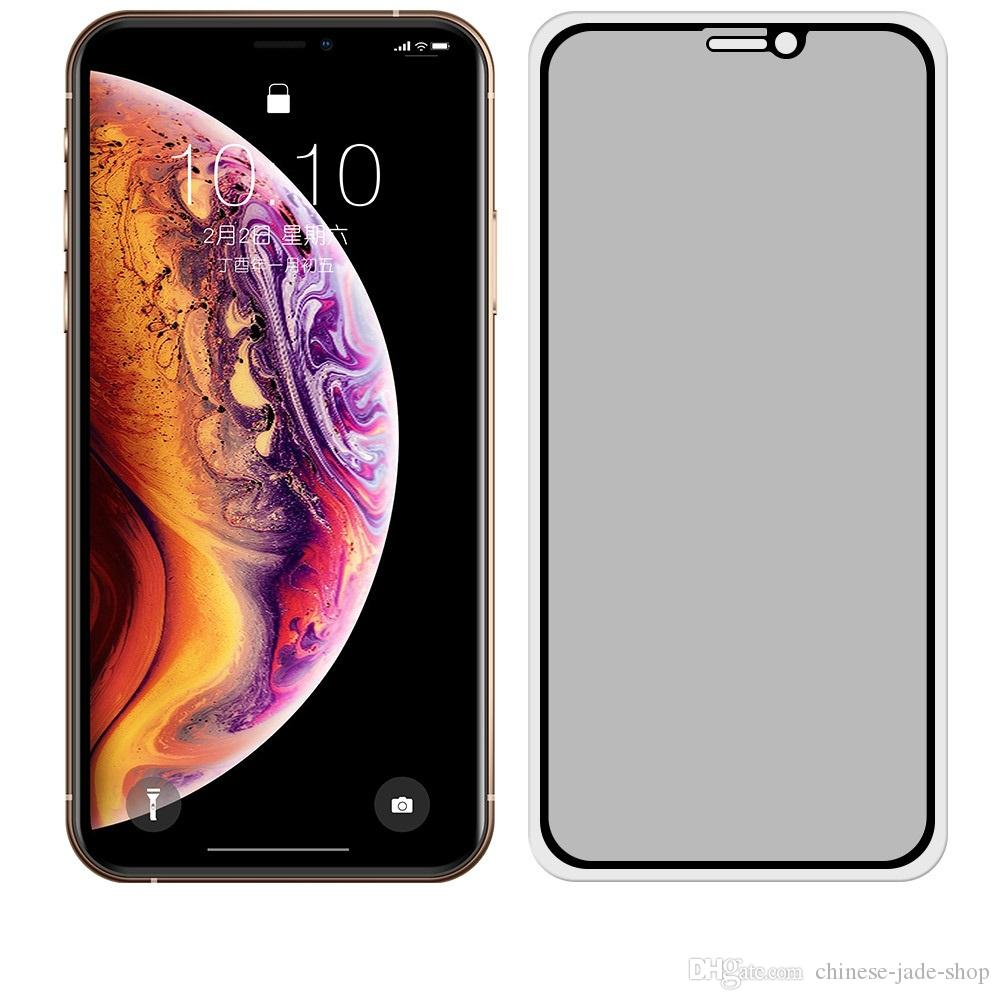 Anti-Spy Privacy Full Cover Tempered Glass Protector Silk Gedrukt voor iPhone 13 12 11 PRO MAX XR XS 6 7 8 Plus 100 stks / partij Simple Opp