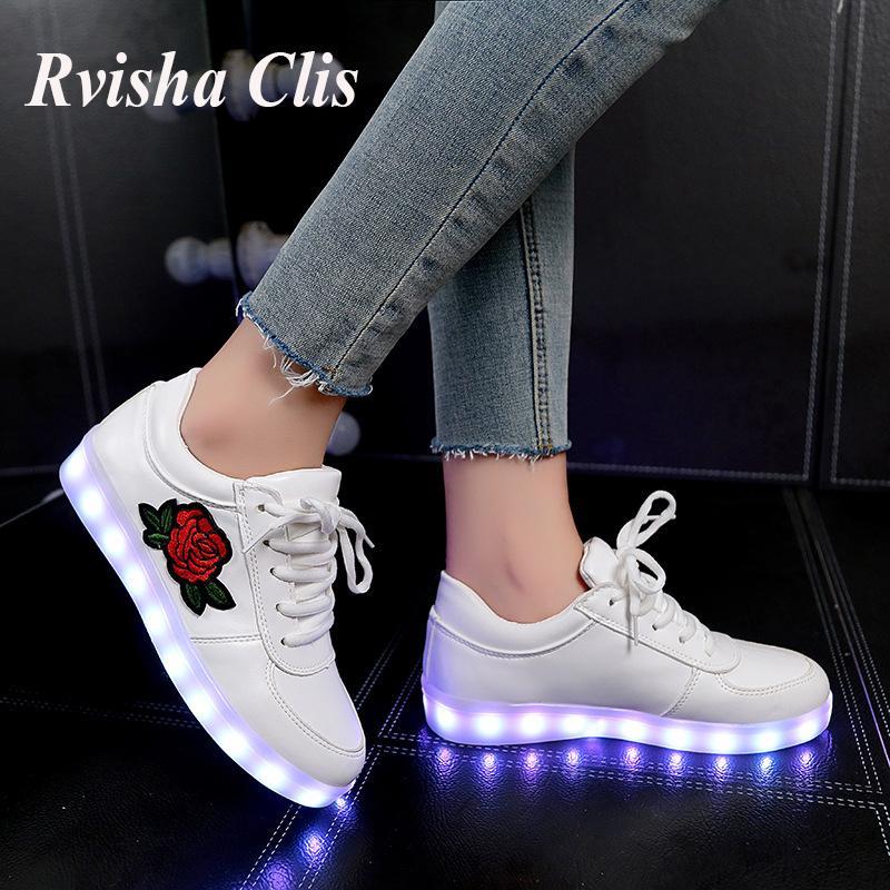 usb-Gebühr 26-44 EUR Größe PU-Leder leuchtende Schuhe Sneaker Mädchen beleuchtet Luminous Sneaker Jungen Baby Led Schuhe tenisMX190919