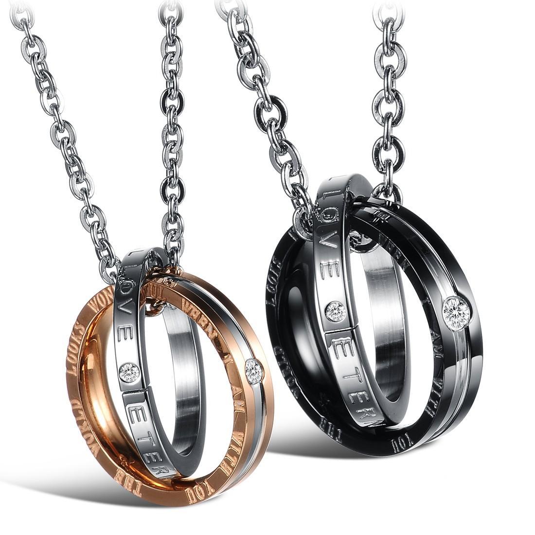 2020 Z bijoux de mode 831new nouveau diamant mode double ronde collier pendentif couple en acier de titane en acier inoxydable pour l'amour
