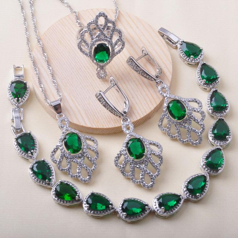 925 Silver Jewelry Sets Bridal jewelry For Women Wedding Green Crystal Bracelet Earrings Ring Christmas Gift QS0626