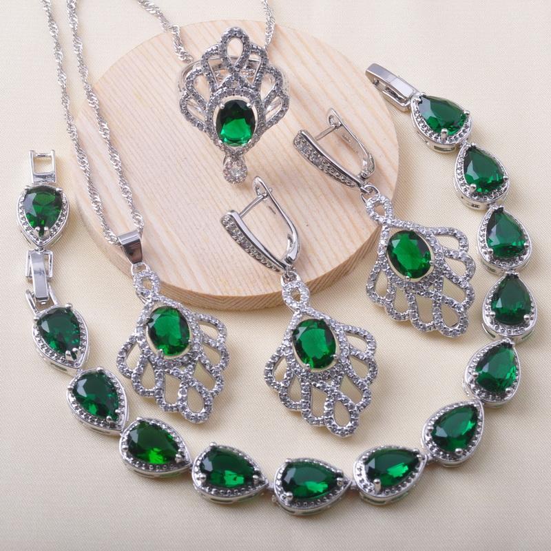 925 joyería de plata sistemas de la joyería nupcial para los pendientes de cristal verde Mujeres pulsera del anillo de bodas de Navidad QS0626 regalo
