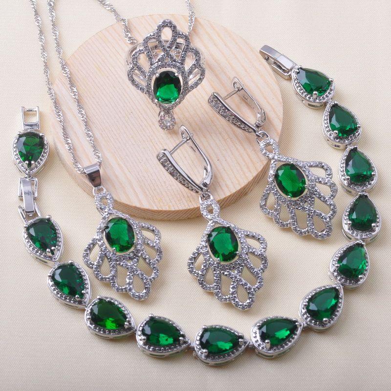 925 monili d'argento i monili nuziali per orecchini da sposa le donne di cristallo verde dell'anello del braccialetto regalo di Natale QS0626