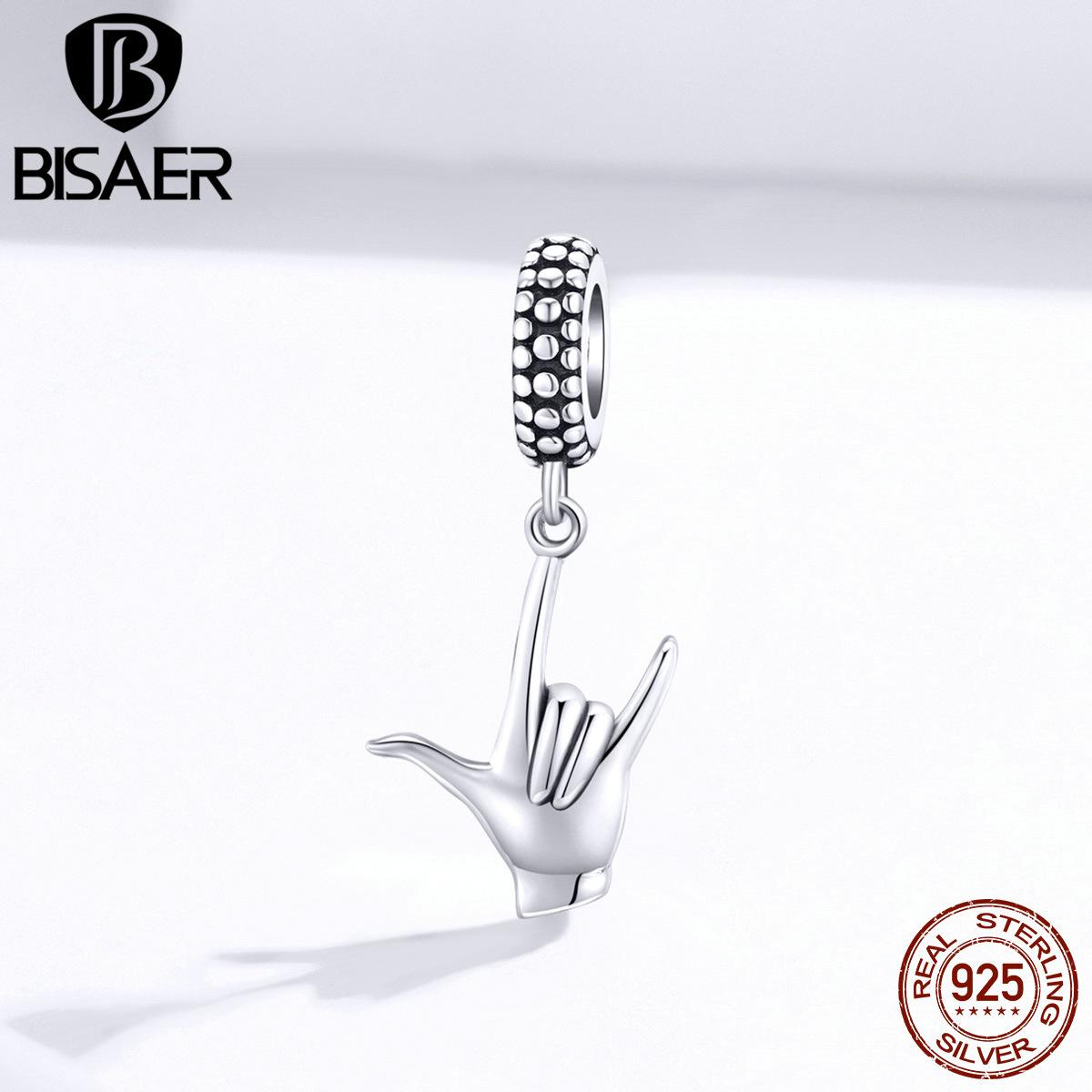 rock sign pendant bisaer 925 Sterling silver rock and roll pendant 925 original charms for jewelry making ECC1438