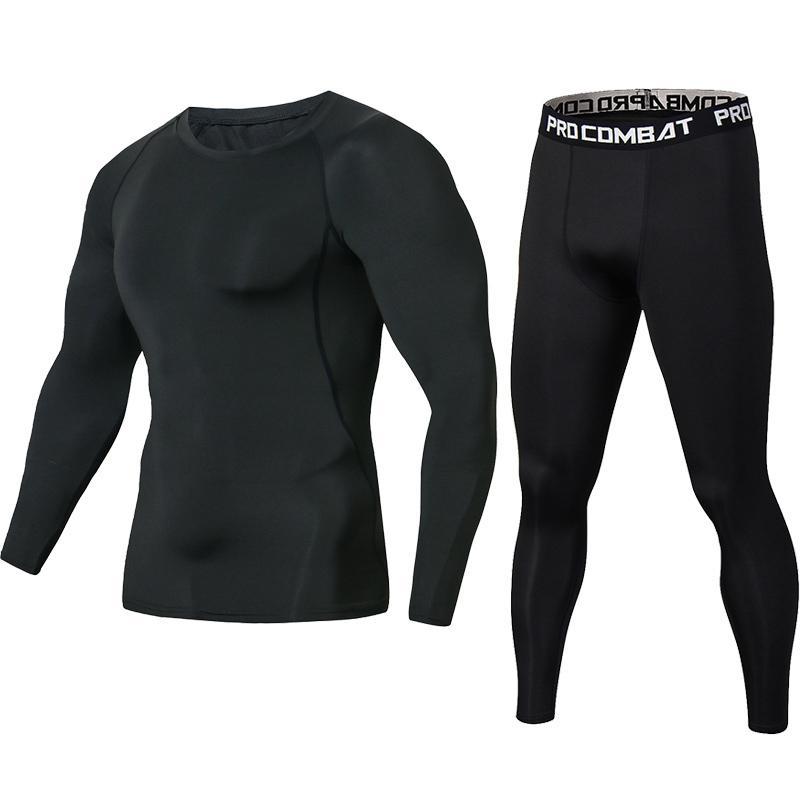Date Pure Black Fitness Compression Ensembles T Shirt Hommes Manches Longues MMA Crossfit Muscle Shirt Leggings Base Layer Serré Ensemble D19010901
