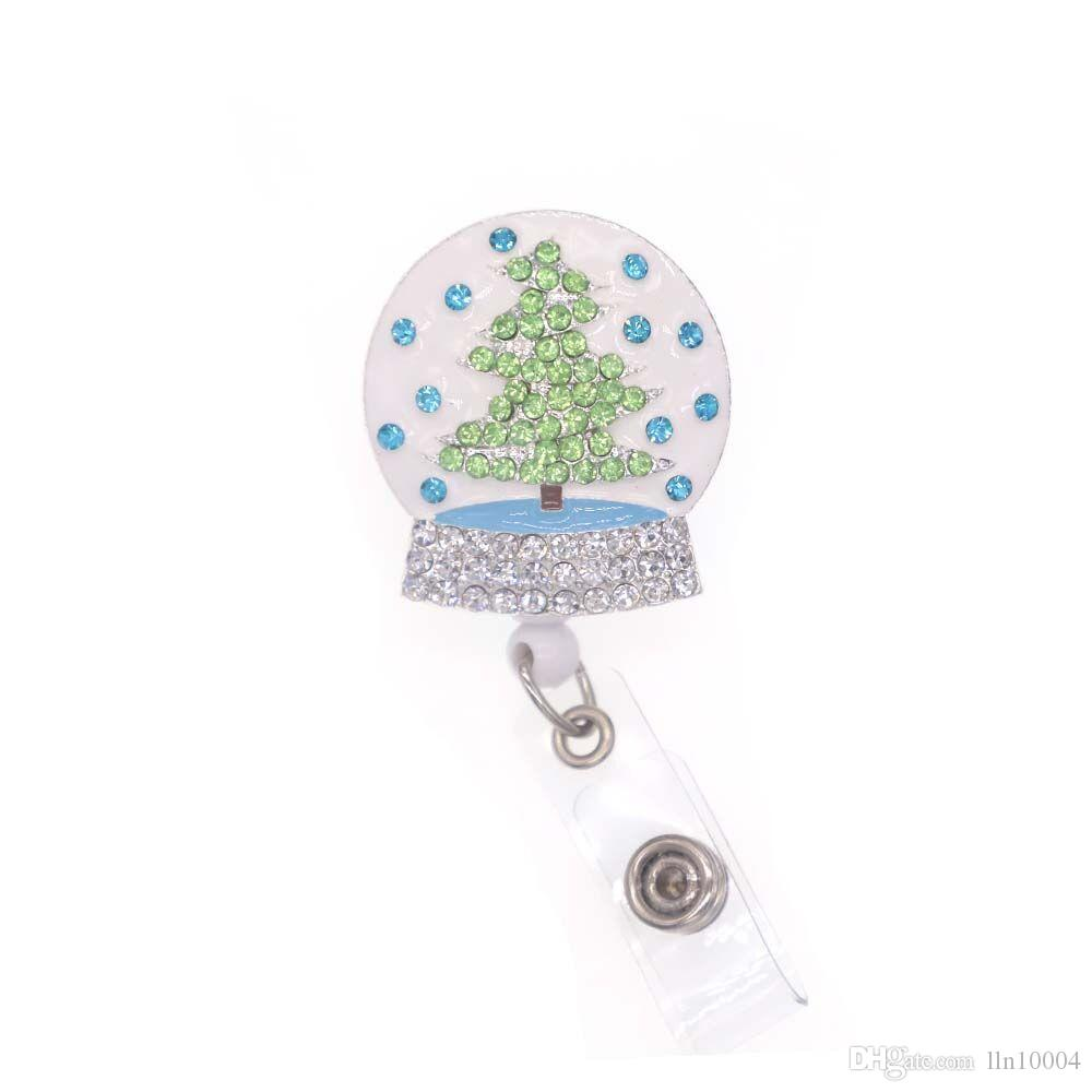10pcs/lot free shipping Enamel Rhinestone Christmas Tree Retractable Badge Reel Crystal Ball ID Badge Holder Christmas Gift for Nurse