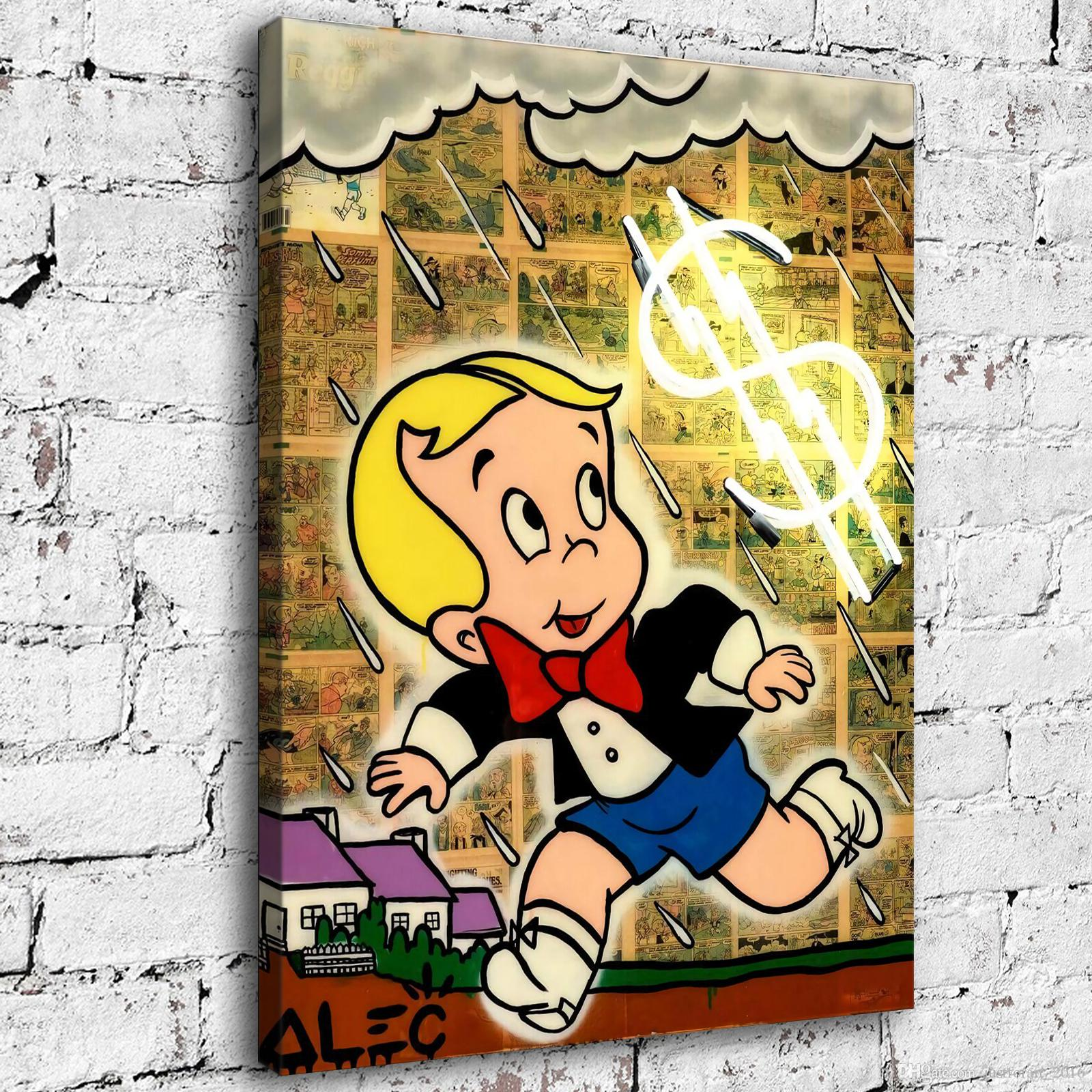 Hand-painted Alec Monopoly Oil Painting Home Decor Wall Art on Canvas Thunder Shower 24x32inch Unframed