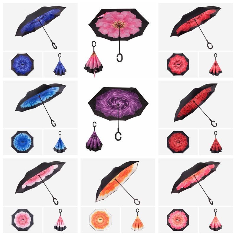 C Kol Çift Katmanlı İç Out everte Paraşüt Şemsiye 150 stili ile Ters Windproof Şemsiye Yaratıcı Ters Şemsiye LXL1196-3Q