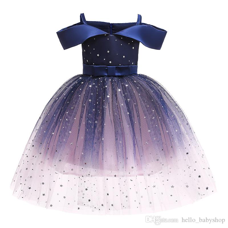Sommer Kinderbekleidung weg von der Schulter Prinzessin Paillettenkleid Puffy Striped Mädchen-Kleider für 2-10 Jahre